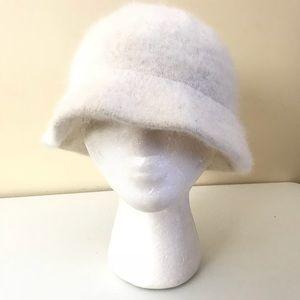 Accessories - Angora Rabbit Hair Bucket Hat in White